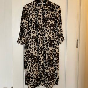 DVF Leopard Silk Shirtdress size 0